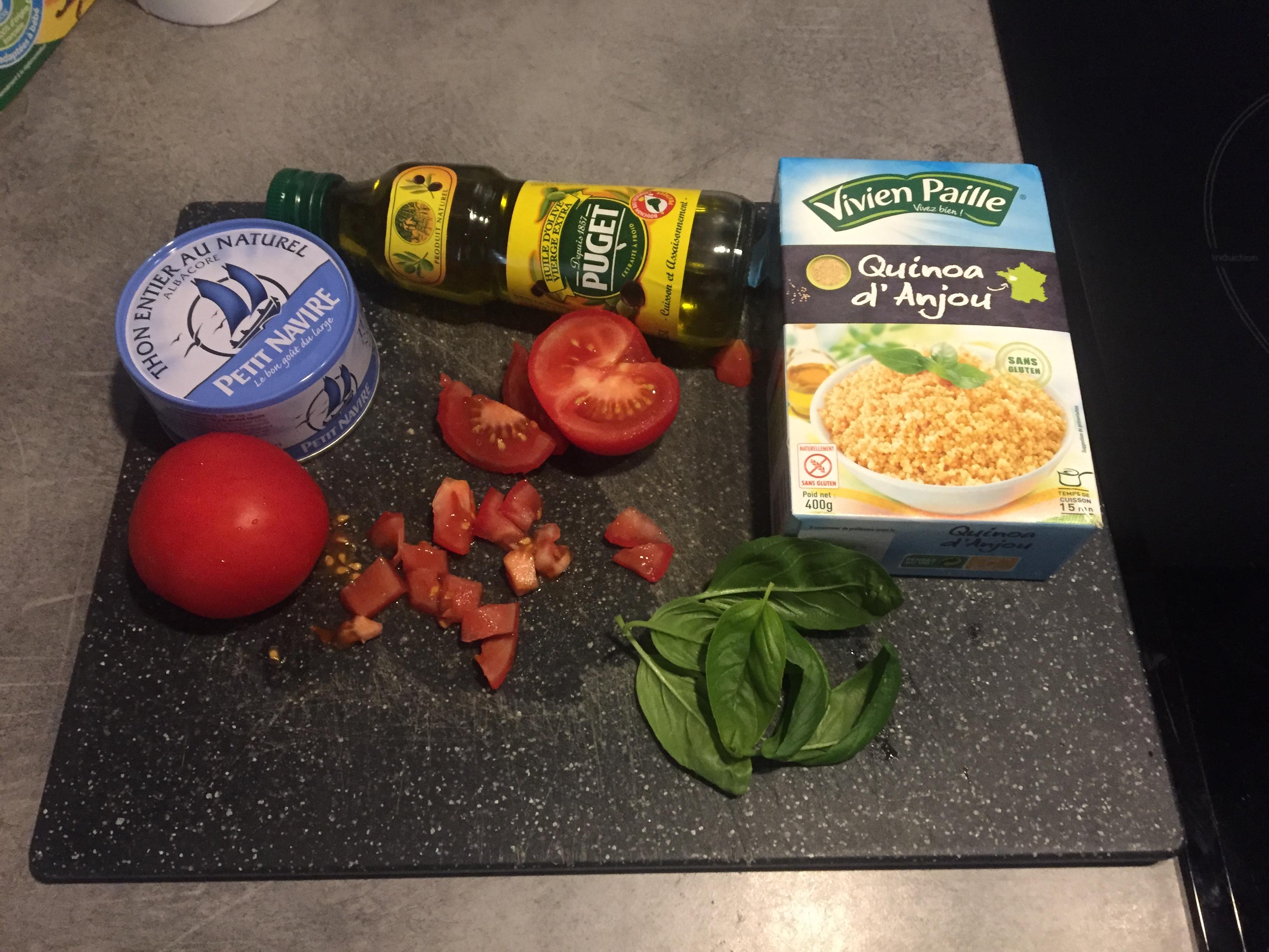ingrédients thon quinoa tomate