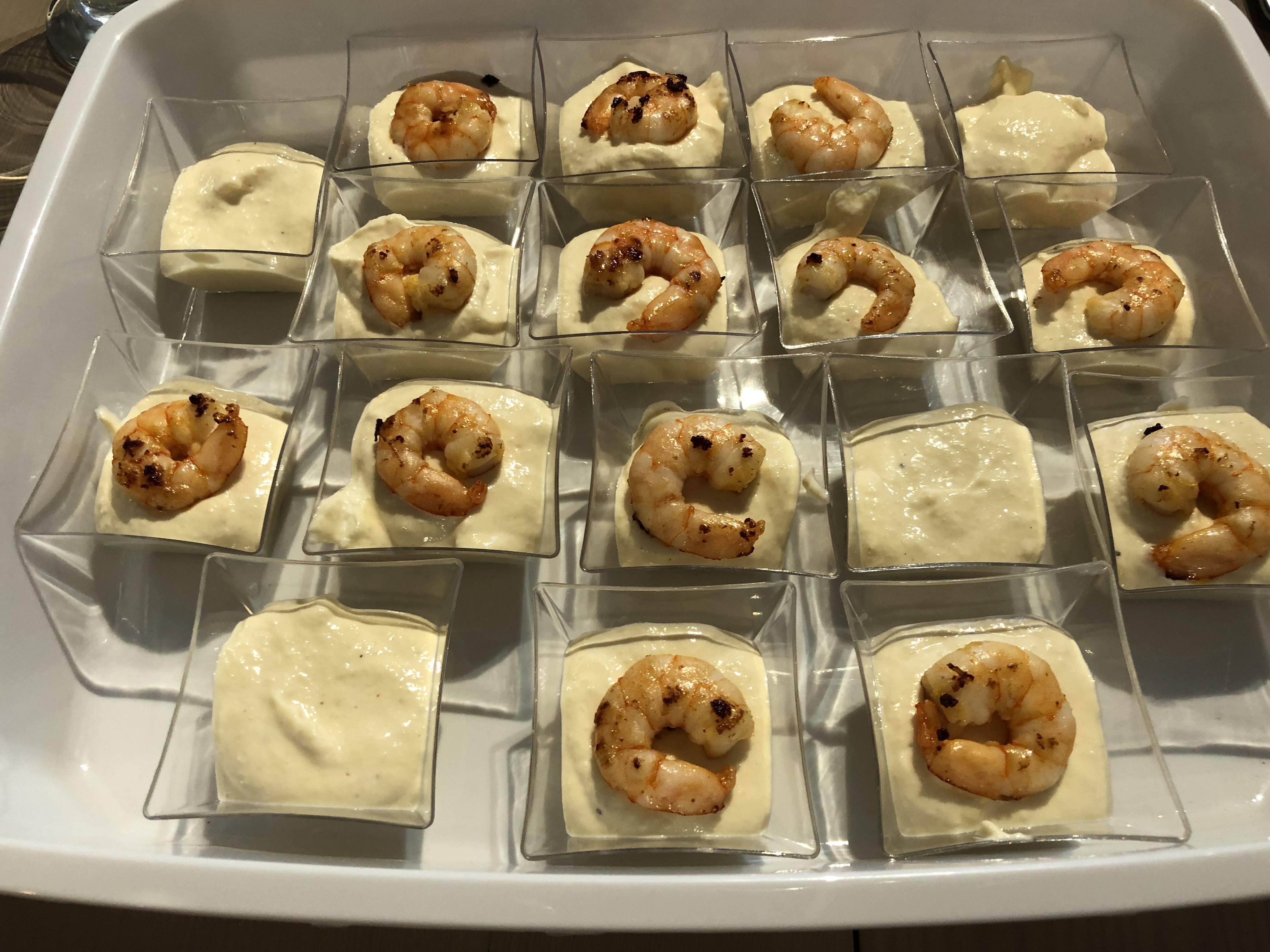 Verrines crème d'asperges aux crevettes