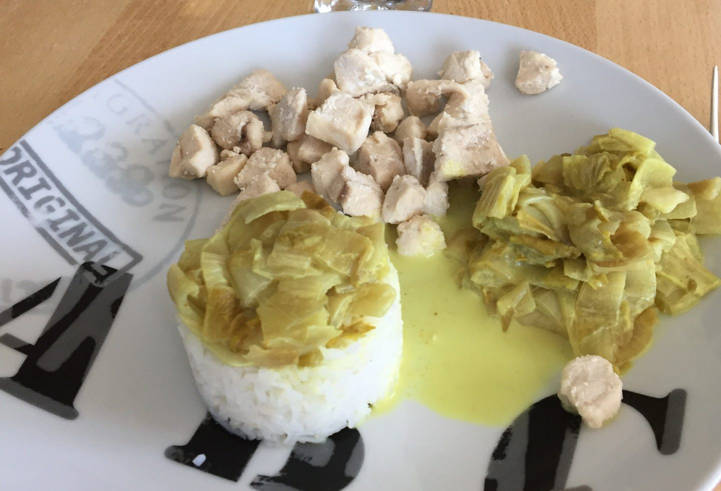 Endives poulet curry au lait de coco