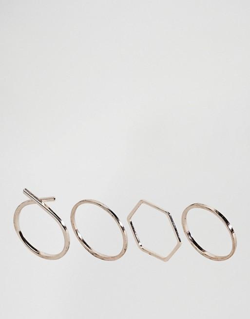 ASOS – Lot de 4 bagues aux formes variées