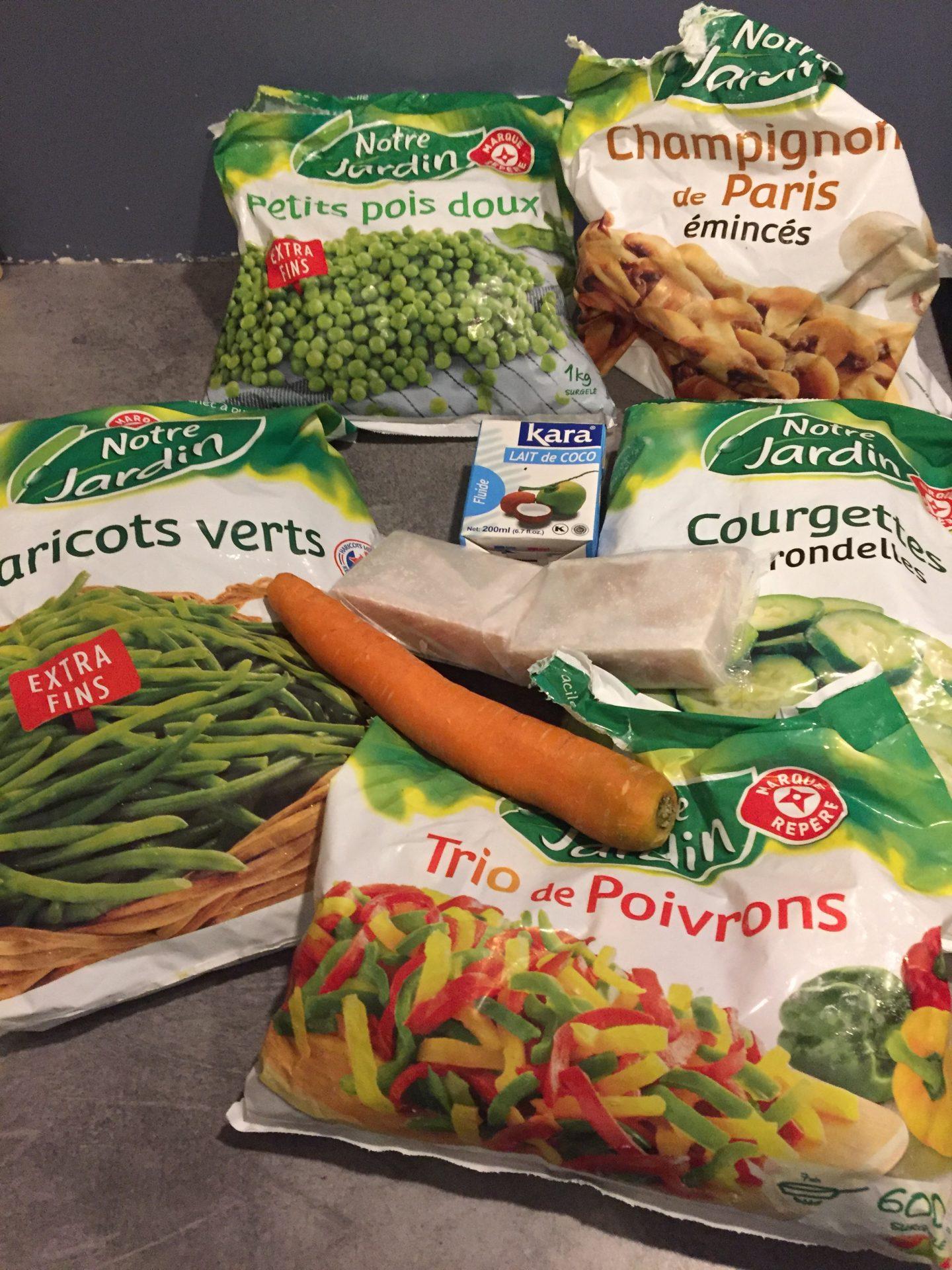 ingredients cabillaud legumes lait coco