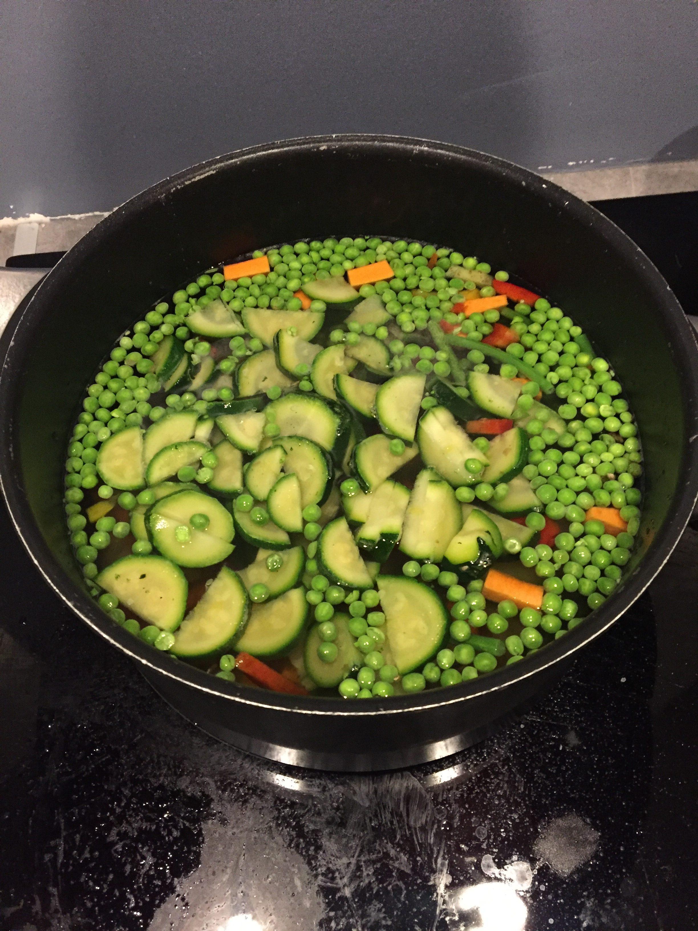 cabillaud, petits légumes croquants