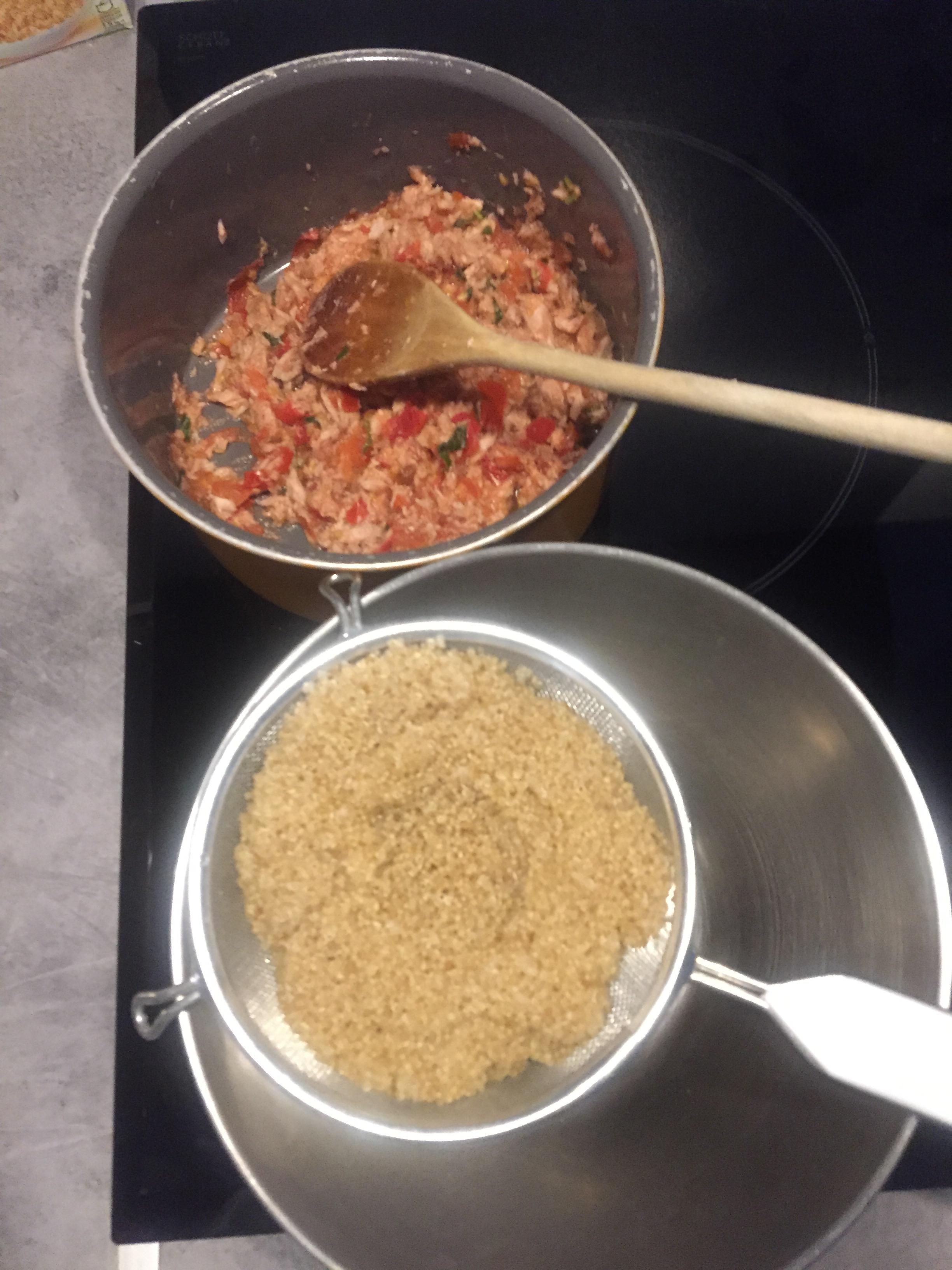 mélange tomate basilic thon quinoa