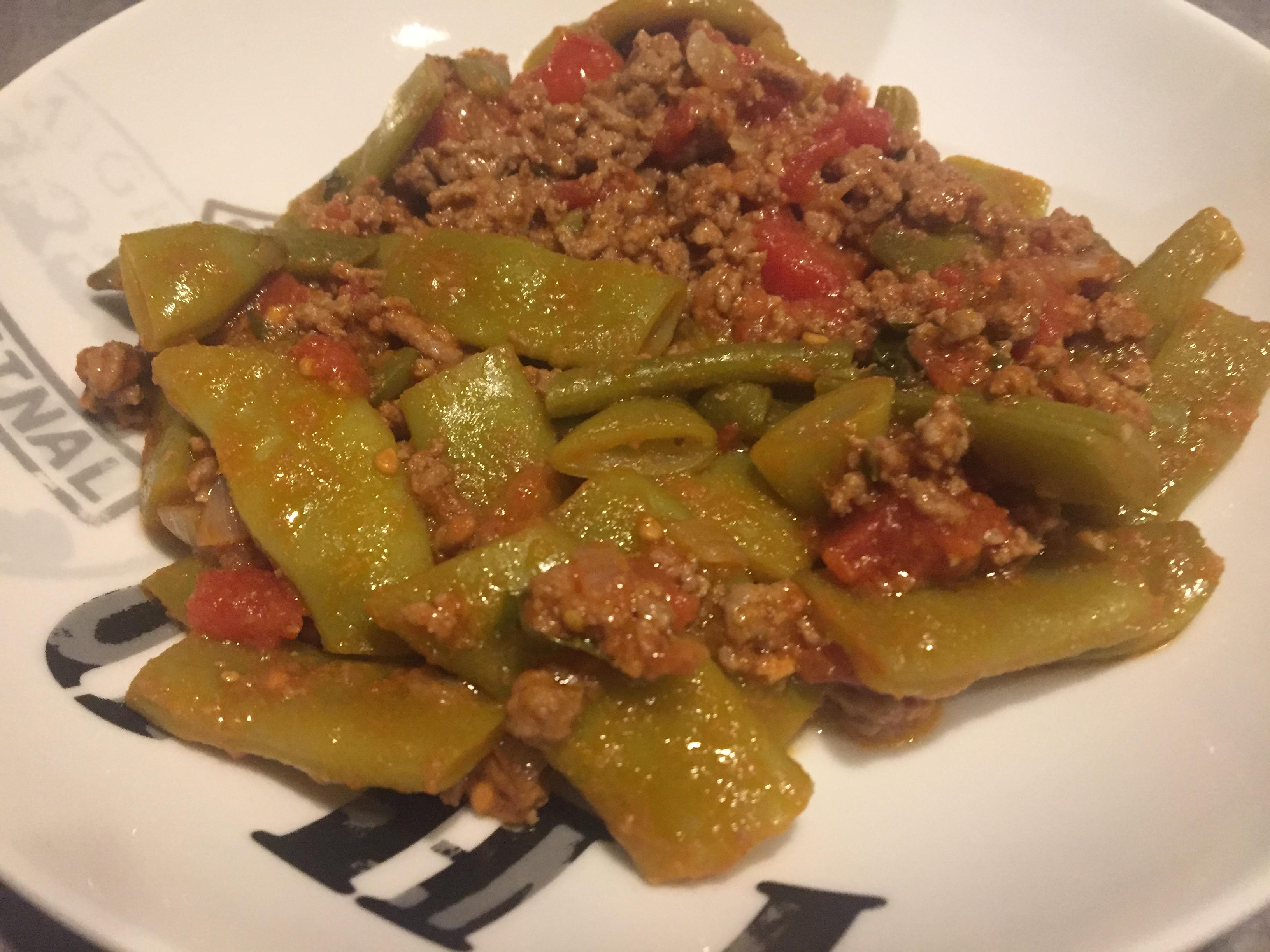 haricots plats à la bolognaise